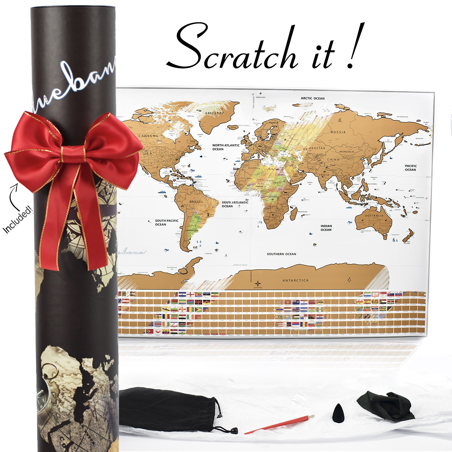 Scratch off Map of the World – Track your travel Adventures White ...